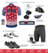 Aero Tech USA Stars and Stripes Cycling Jersey in Red/White/Blue USA made - Sprint