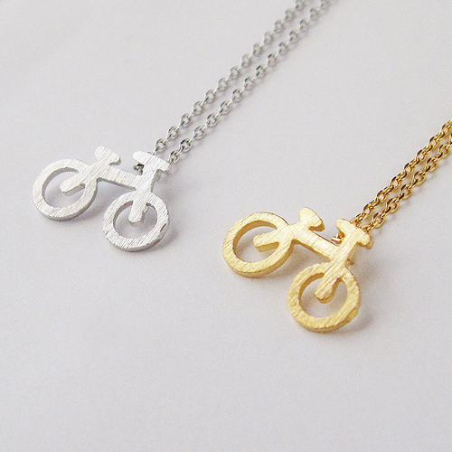Bicycle on a Necklace - 14k Gold Plate on 16