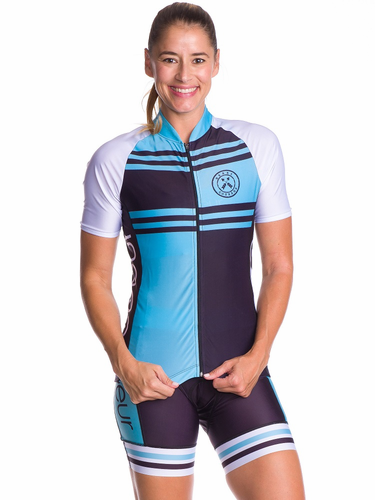 Blue Steel Short Sleeve Cycling Jersey Coeur Sports