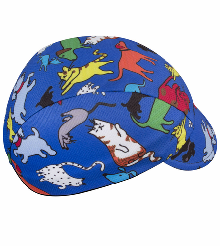 Childs Cycling Cap It's Raining Cats and Dogs Print - Blue, Wicking Fabric Hat