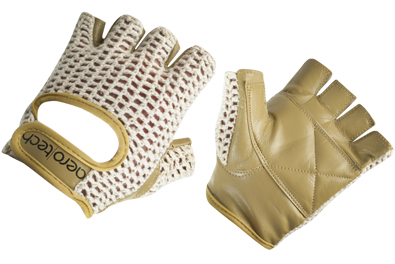 Aero Tech Childs Leather and Cotton Crochet Cycling Gloves