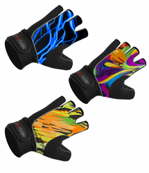 Fingerless Bike Gloves - Wild Print Gel Padded Palms - Cycling, Lifting, Rowing