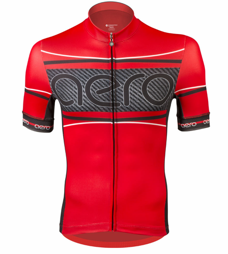 Aero Tech Men's Premiere Advanced Carbon Bike Racing Jersey - Red / Black