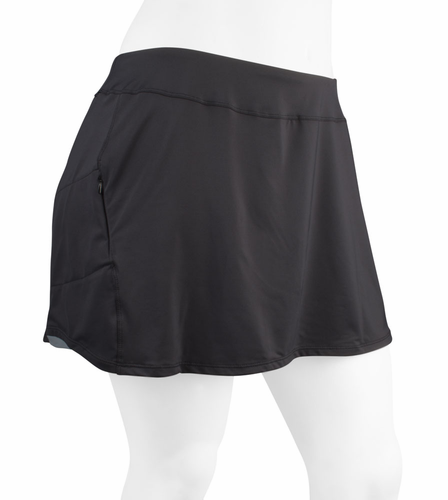 PLUS Womens Padded Cycling Black Flare Skort by Terry