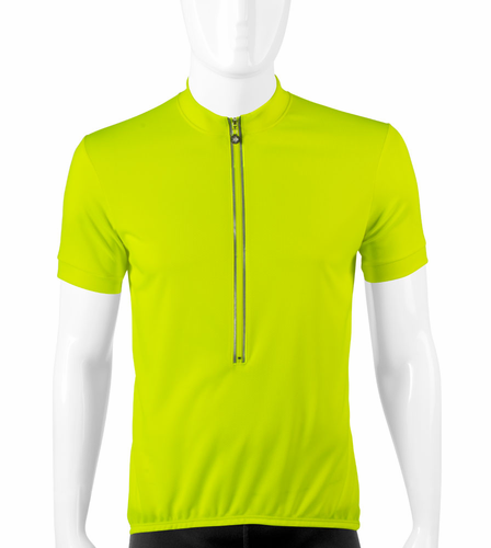 Aero Tech TALL Short Sleeve High Vizibility Safety Yellow Cycling Jersey