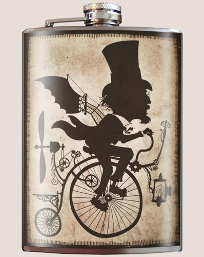 The Inventor Flask with Penny Farthing Bicycle 8oz.