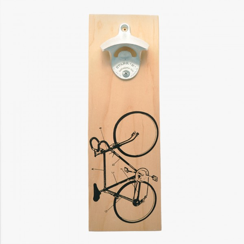 Wall Hanging Bicycle Bottle Opener - Available in Wood and White color