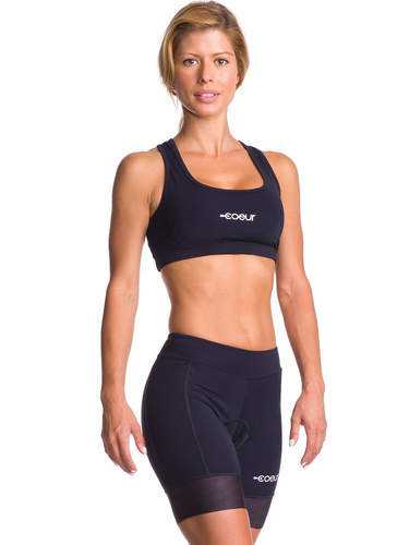 Women's Black Padded Cycling Shorts - Coeur Sports