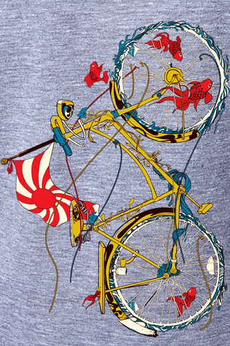 Women's Cotton T-shirt with Fish on Bike