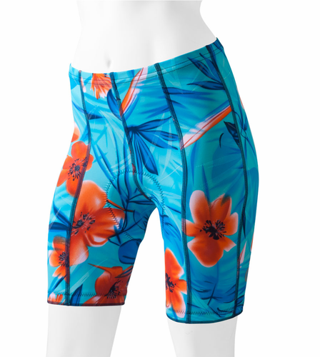 Aero Tech Women's Turquois Tropical Printed Cycling Bike Shorts