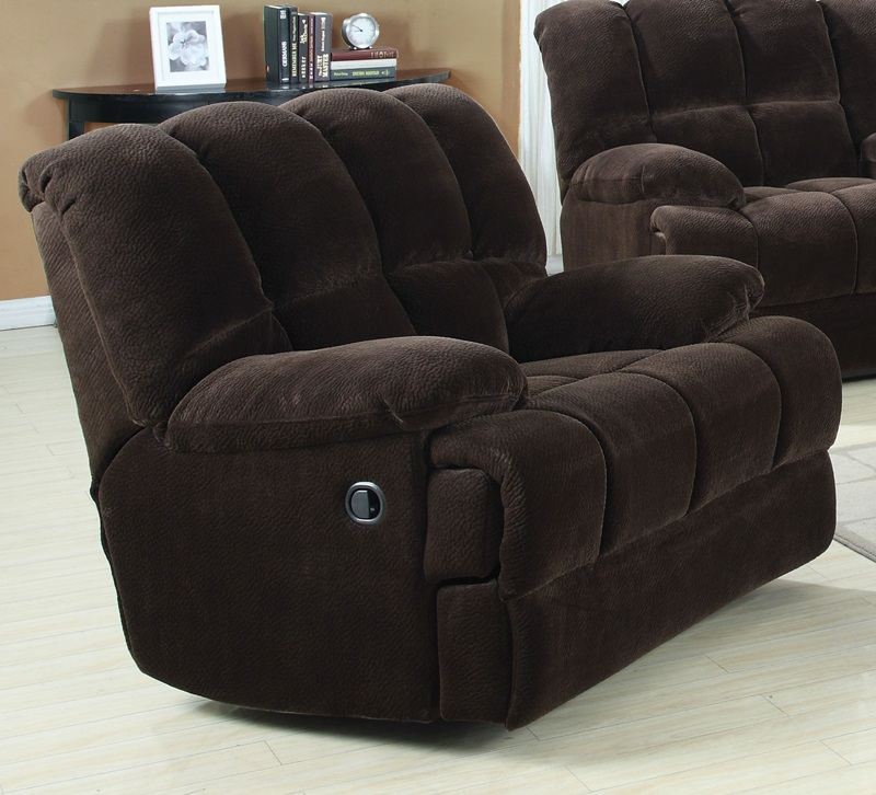 Ahearn transitional style champion fabric rocker recliner with hand latch chocolate 50477 fs acm - Stylish rocker recliner ...