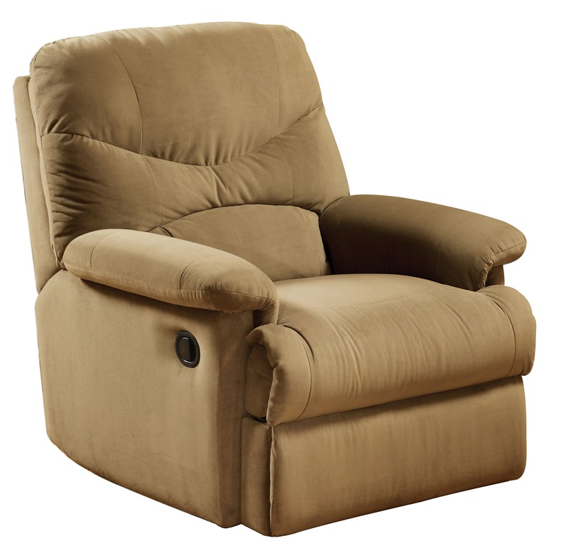 arcadia transitional style microfiber glider recliner with hand latch light brown 00634 fs acm 13jpg ReclinerCitycom USD Ground American Express