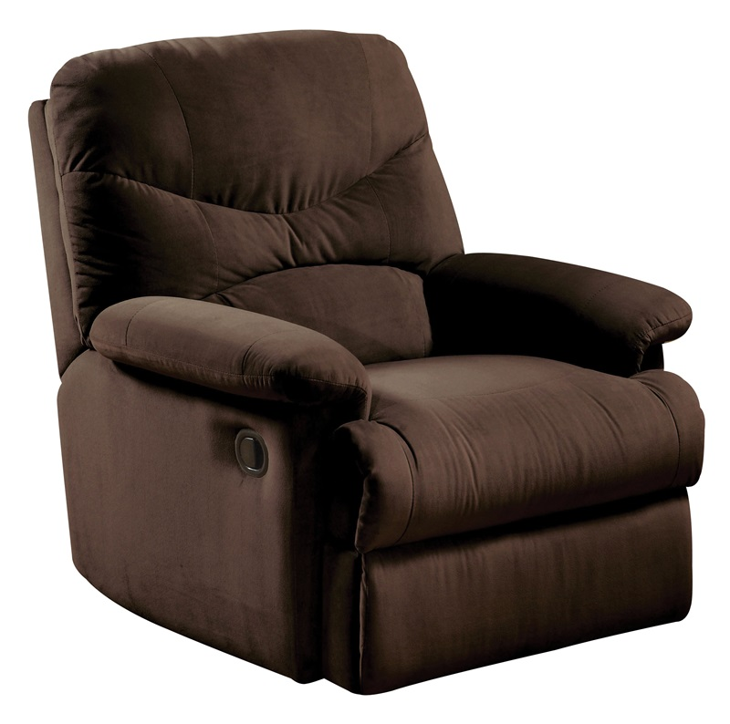 arcadia transitional style microfiber recliner with hand latch chocolate 00632 fs acm 13jpg ReclinerCitycom USD Ground American Express