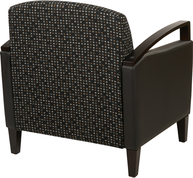 Ave Six Main Street 2 Tone Custom Lounge Chair With Espresso Finish Legs    Onyx Fabric And Black Vinyl [MST51 K101 R107 FS OS]