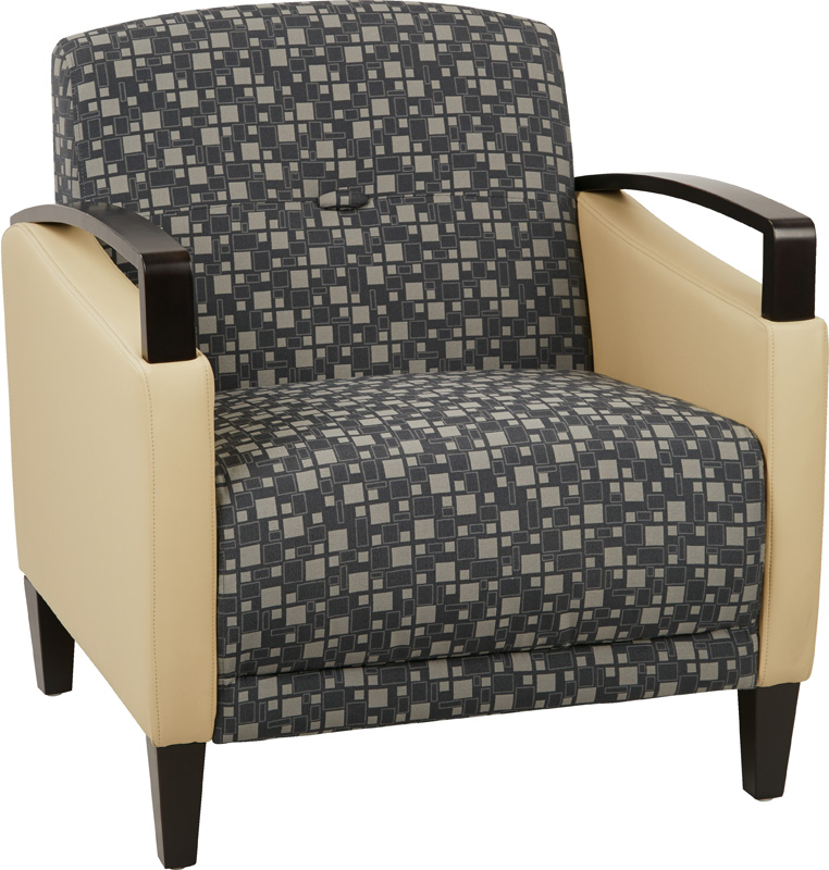 Delicieux Ave Six Main Street 2 Tone Custom Lounge Chair With Espresso Finish Legs    Steely Fabric And Buff Vinyl [MST51 K108 R104 FS OS]