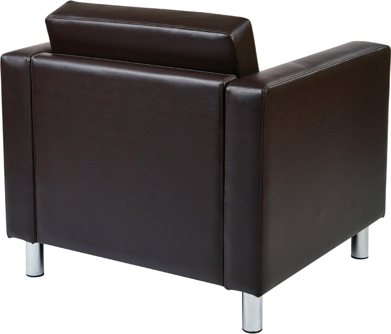 Ave Six Pacific Faux Leather Arm Chair With Chrome Finish Legs   Espresso  [PAC51 V34 FS OS]