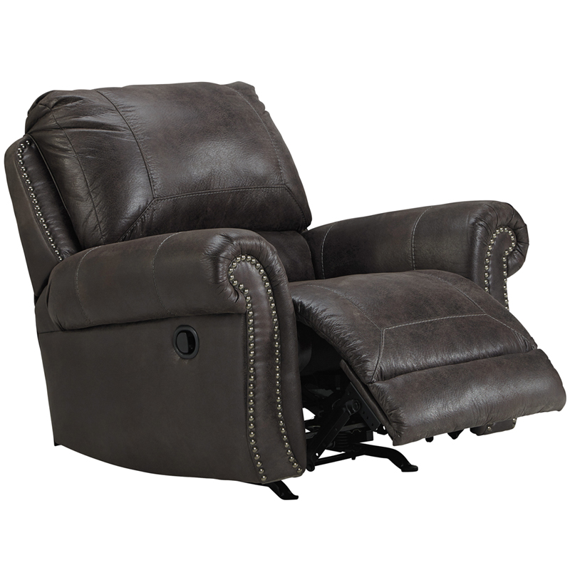 benchcraft breville rocker recliner in charcoal faux leather - Rocker Recliners
