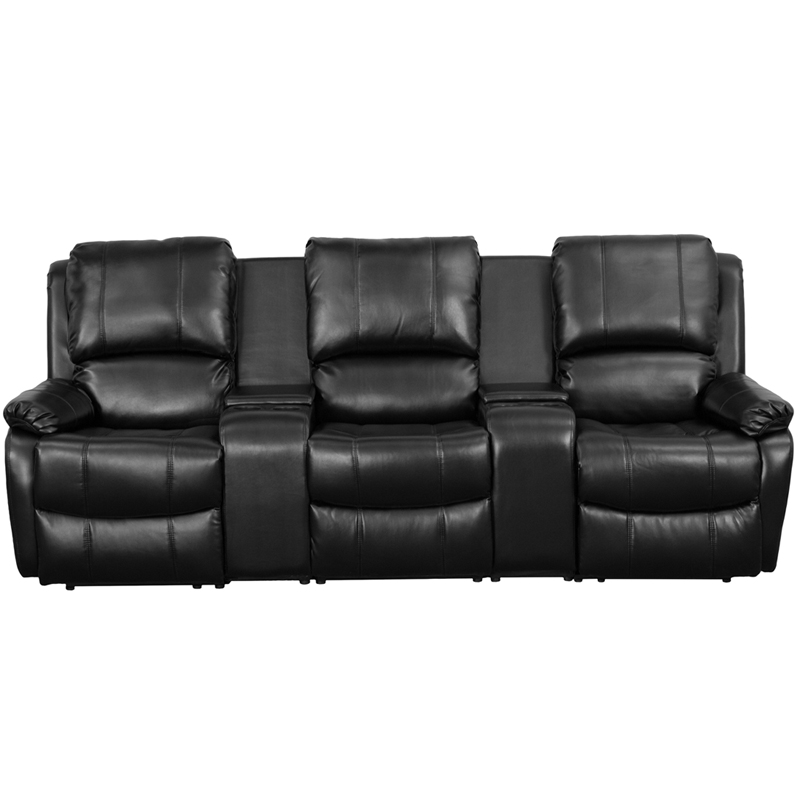 Allure Series 3 Seat Reclining Pillow Back Black Leather Theater Seating  Unit With Cup Holders [BT 70295 3 BK GG]