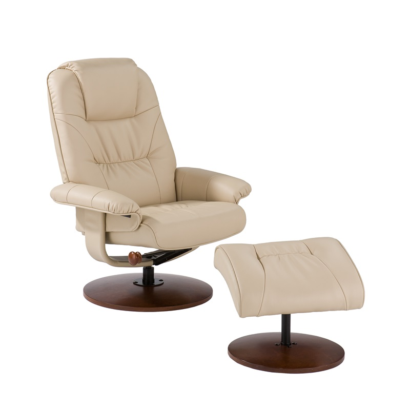bonded leather birch base swivel glider reclining chair
