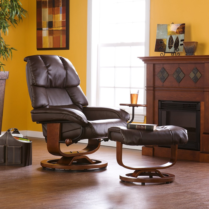 Beau Bonded Leather Swivel Recliner With Movable Side Table And Ottoman   Cafe  Brown [UP7673RC FS SENT]
