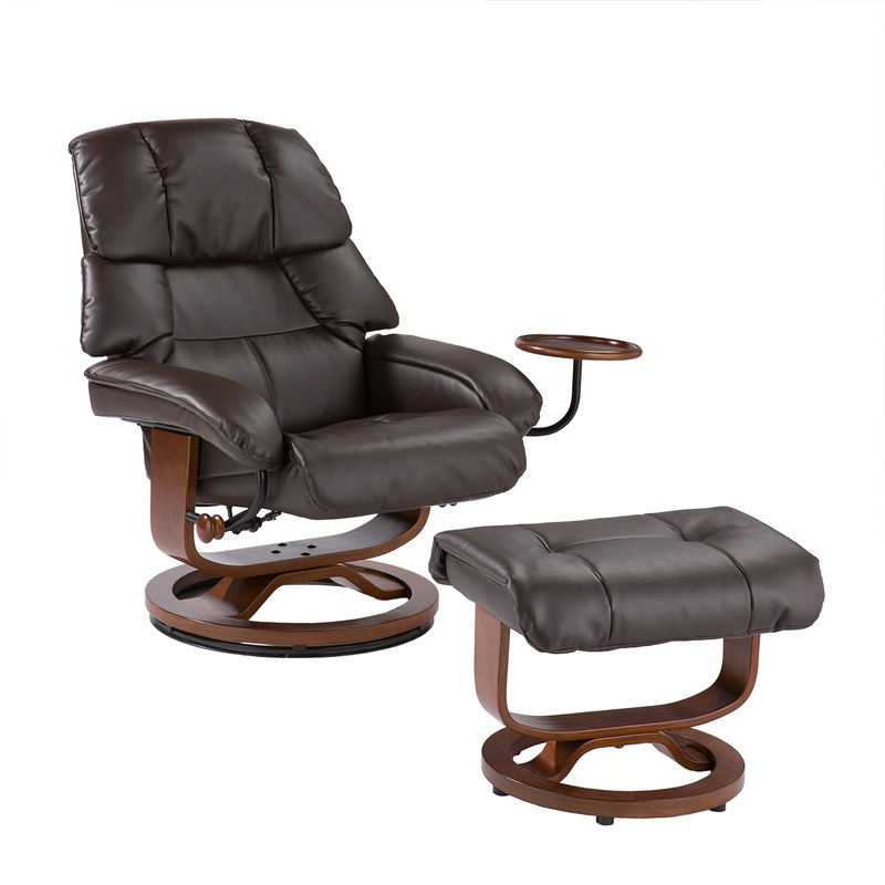Marvelous Bonded Leather Swivel Recliner With Movable Side Table And Ottoman   Cafe  Brown [UP7673RC FS SENT]
