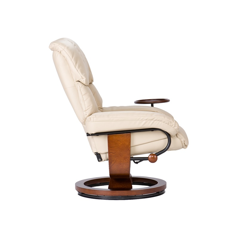 bonded leather swivel recliner with movable side table and ottoman taupe