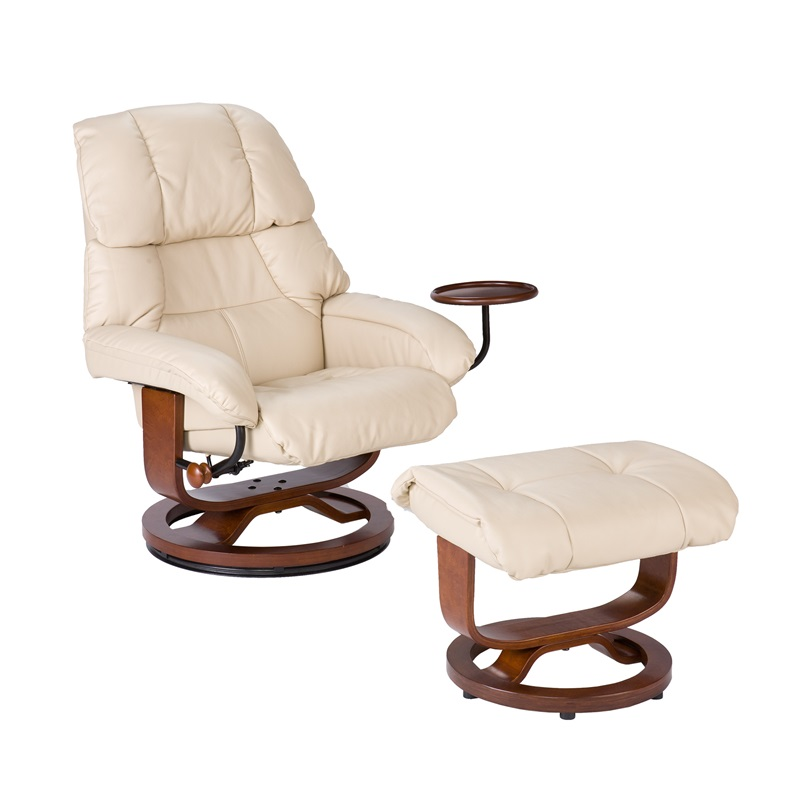 Bonded Leather Swivel Recliner With Movable Side Table And Ottoman