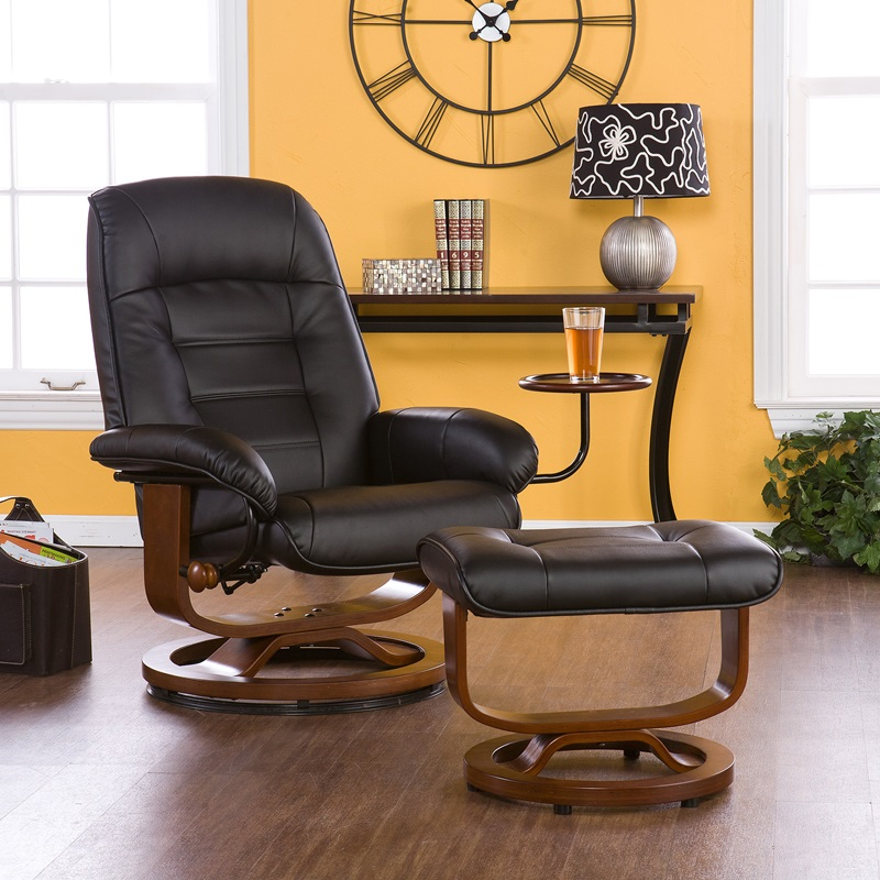 bonded leather swivel recliner with attached side table and ottoman