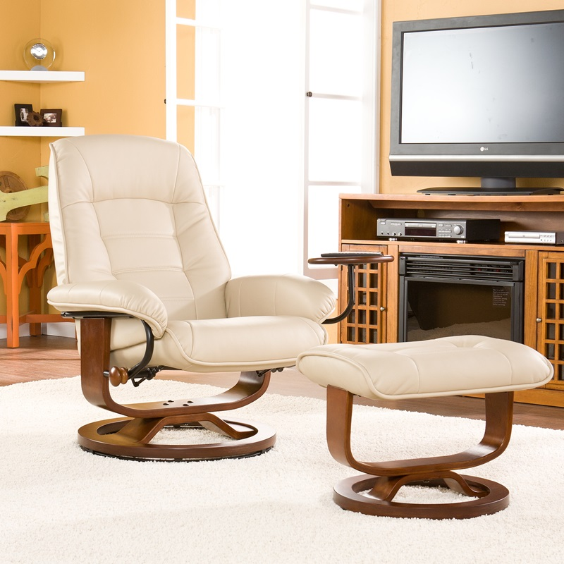 Bonded Leather Swivel Recliner With Attached Side Table And Ottoman   Taupe  [UP1332RC FS SENT]