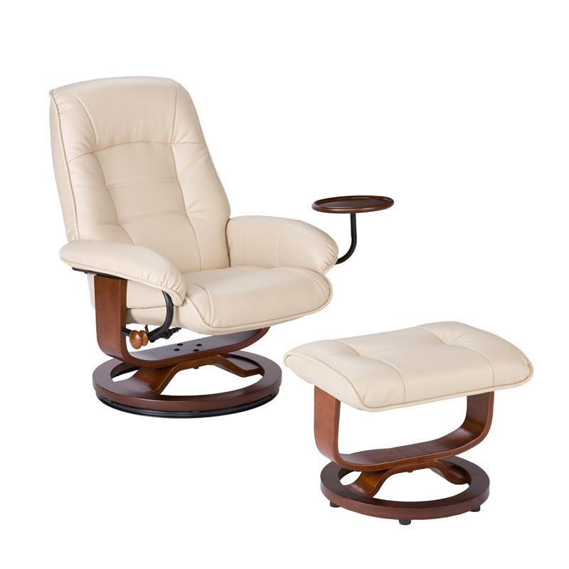 bonded leather swivel recliner with attached side table and ottoman taupe