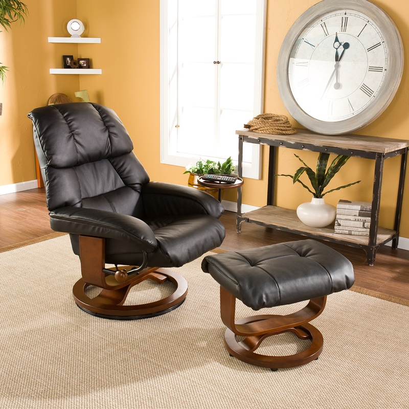 Bonded Leather Swivel Recliner with Movable Side Table and Ottoman - Black [UP7603RC-FS-SENT] : reclining glider and ottoman - islam-shia.org