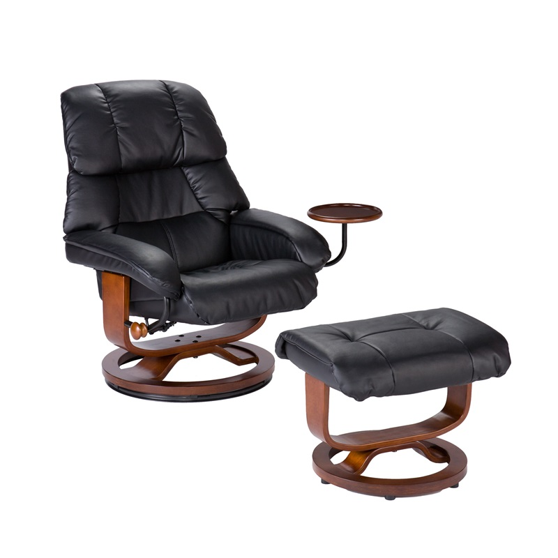 Bonded Leather Swivel Recliner With Movable Side Table And Ottoman   Black  [UP7603RC FS SENT]