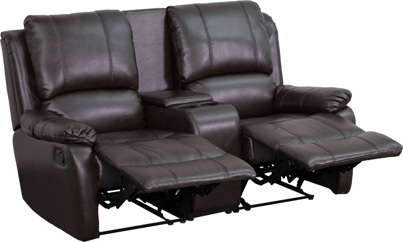 Allure Series 2 Seat Reclining Pillow Back Brown Leather Theater Seating Unit With Cup Holders Bt 70295 Brn Gg