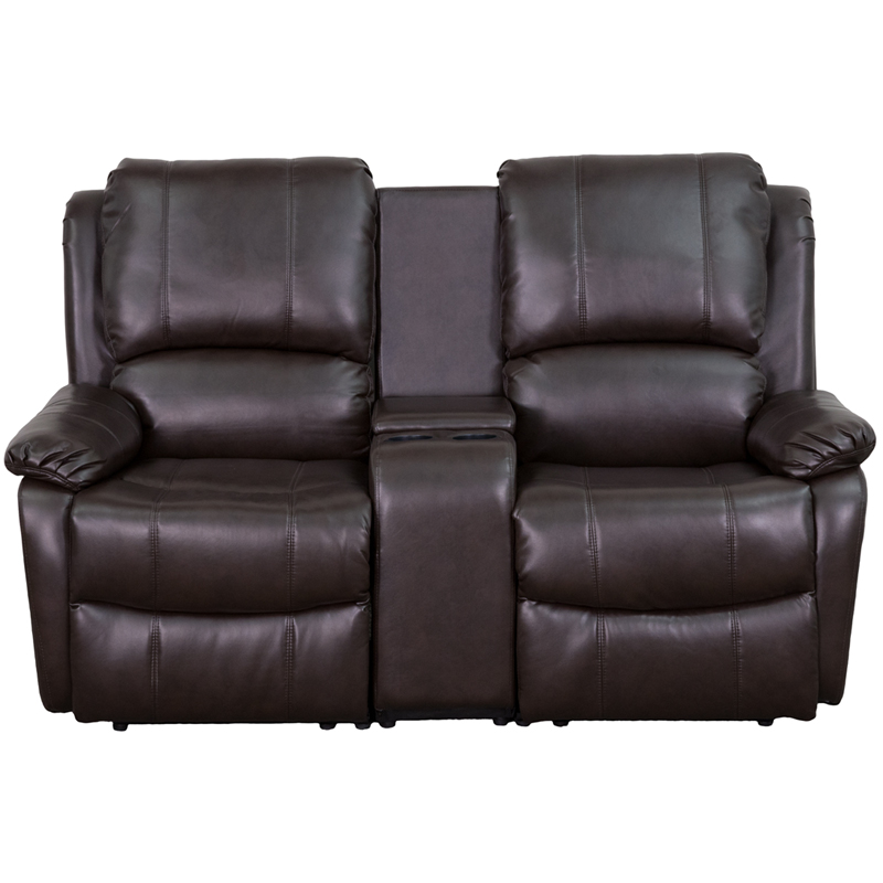Allure Series 2 Seat Reclining Pillow Back Brown Leather