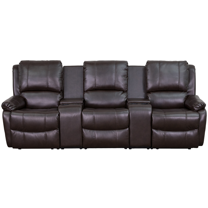 Allure Series 3 Seat Reclining Pillow Back Brown Leather Theater Seating  Unit With Cup Holders [BT 70295 3 BRN GG]
