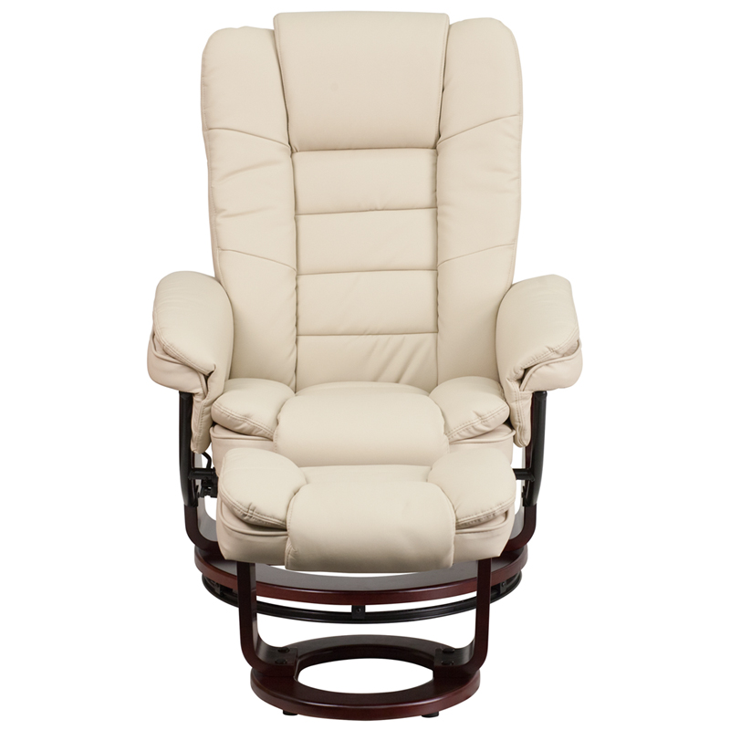 Home Theater Sleeper Sofa Contemporary Beige Leather Recliner and Ottoman with ...