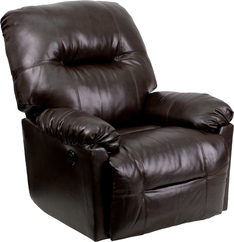 Contemporary Bentley Brown Leather Chaise Power Recliner With Push Button  [AM CP9350 9075 GG]