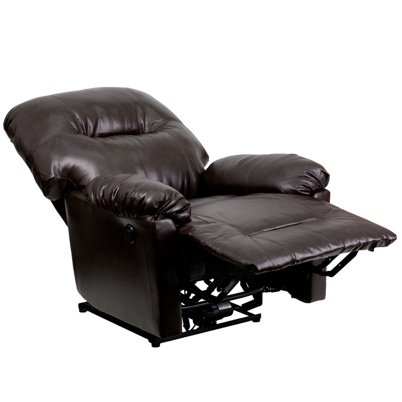 Contemporary bentley brown leather chaise power recliner for Ashley brown leather chaise