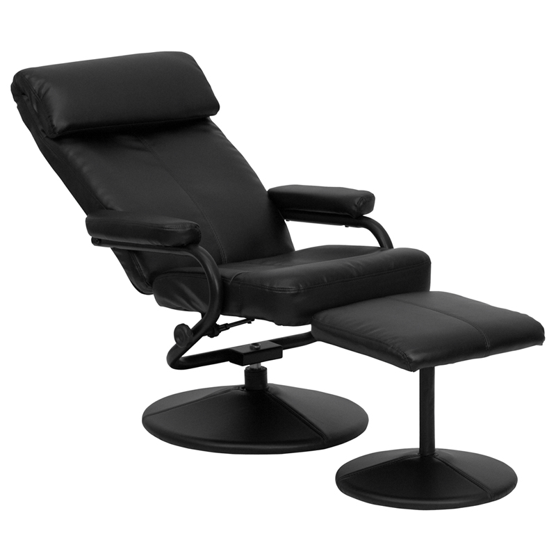 contemporary black leather recliner and ottoman with leather wrapped