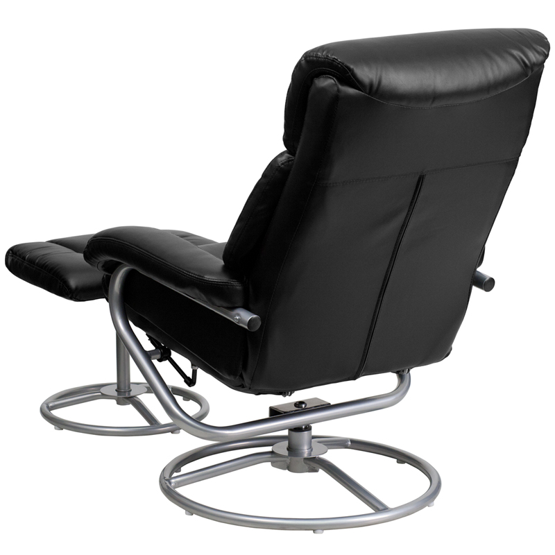 Contemporary Black Leather Recliner and Ottoman with Metal Base [BT-70230-BK-CIR-GG]  sc 1 st  Recliner City & Contemporary Black Leather Recliner and Ottoman with Metal Base ... islam-shia.org