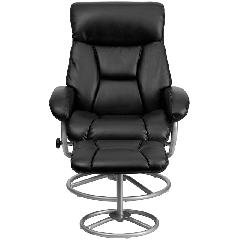 black leather recliner and ottoman with metal base - Black Leather Recliner