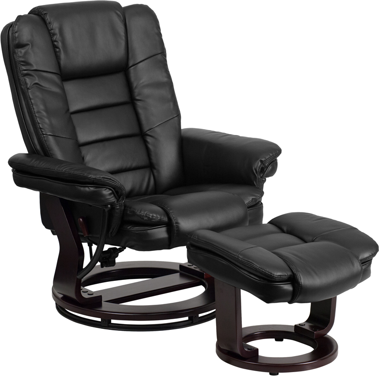 Contemporary Black Leather Recliner And Ottoman With Swiveling Mahogany  Wood Base [BT 7818 BK GG]