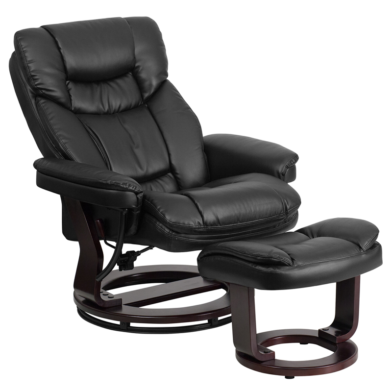Contemporary Black Leather Recliner and Ottoman with  : contemporary black leather recliner and ottoman with swiveling mahogany wood base bt 7821 bk gg 12 from www.reclinercity.com size 800 x 800 jpeg 176kB