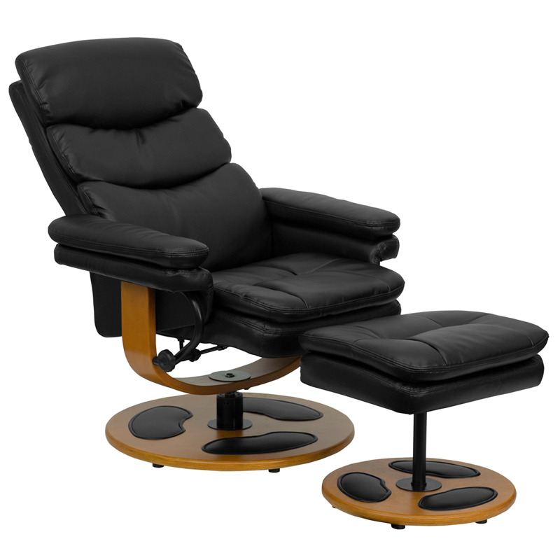 Contemporary Black Leather Recliner and Ottoman with Wood Base [BT-7828-PILLOW-GG]  sc 1 st  Recliner City & Contemporary Black Leather Recliner and Ottoman with Wood Base [BT ... islam-shia.org