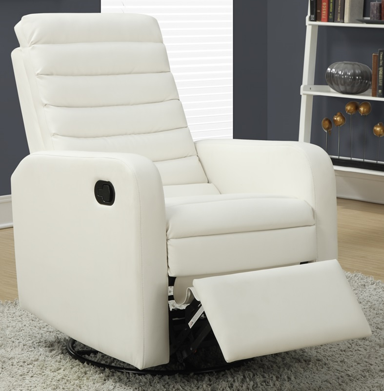 Bonded Leather Swivel Glider Recliner with Horizontal Tufted Back - White [I-8086WH-FS-MSP] & Bonded Leather Swivel Glider Recliner with Horizontal Tufted Back ... islam-shia.org
