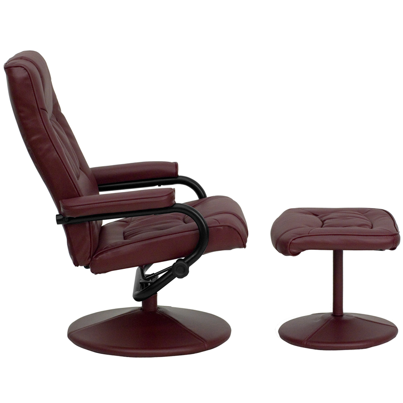 Contemporary Burgundy Leather Recliner And Ottoman With Leather Wrapped  Base [BT 7862 BURG GG]