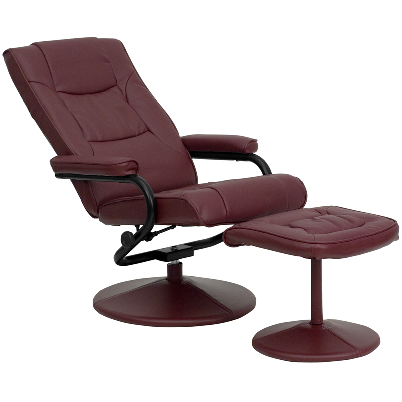 contemporary burgundy leather recliner and ottoman with leather