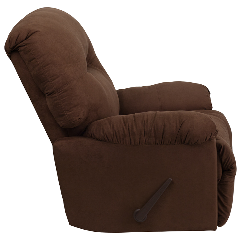 Contemporary calcutta chocolate microfiber chaise rocker for Brown microfiber chaise lounge