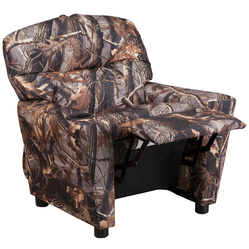 Contemporary Camouflaged Fabric Kids Recliner With Cup