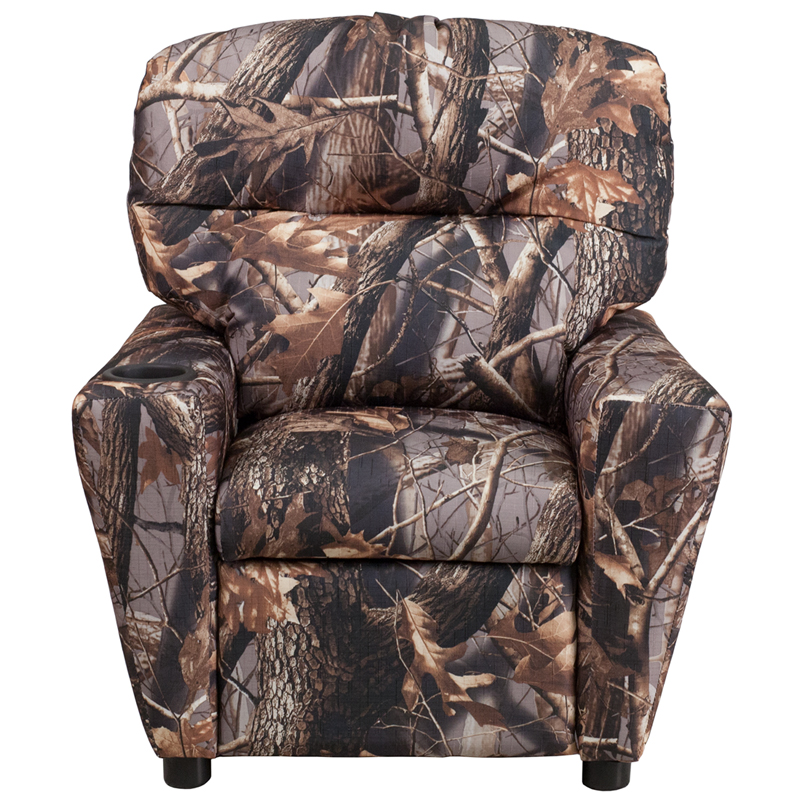 Charmant Contemporary Camouflaged Fabric Kids Recliner With Cup Holder [BT 7950 KID  CAMO GG]